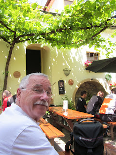 Just enjoying myself inside the courtyard of a Heuringe in Rust Austria.