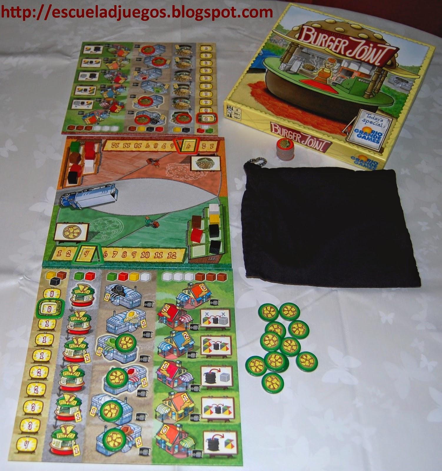 Reseña de Burger Joint, juego de mesa para 2 jugadores editado en inglés por Rio Grande Games.