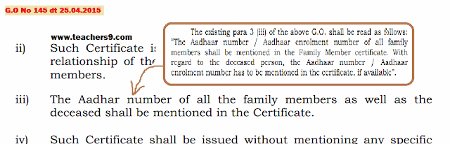 g.o no 237-relaxation of adhaar number in family member certificate of g.o no 145