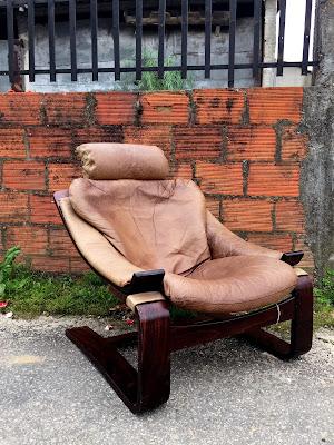 vintage, nórdico, cadeirão, mobiliário vintage