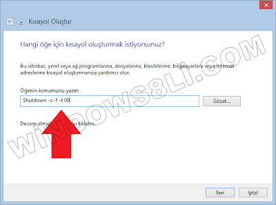Windows 8 Kapatma Kısayol