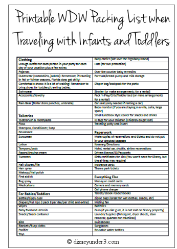 http://disneyunder3.com/printable-disney-world-packing-list-when-traveling-with-infants-and-toddlers/#.U3PyY0DnZdc