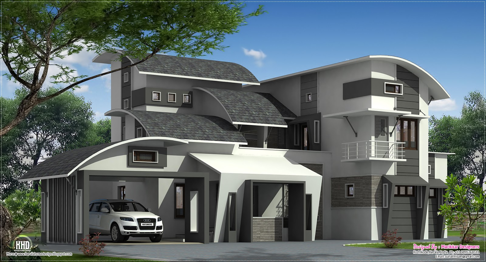 Modern contemporary home in kozhikode kerala home for Modern unique house plans
