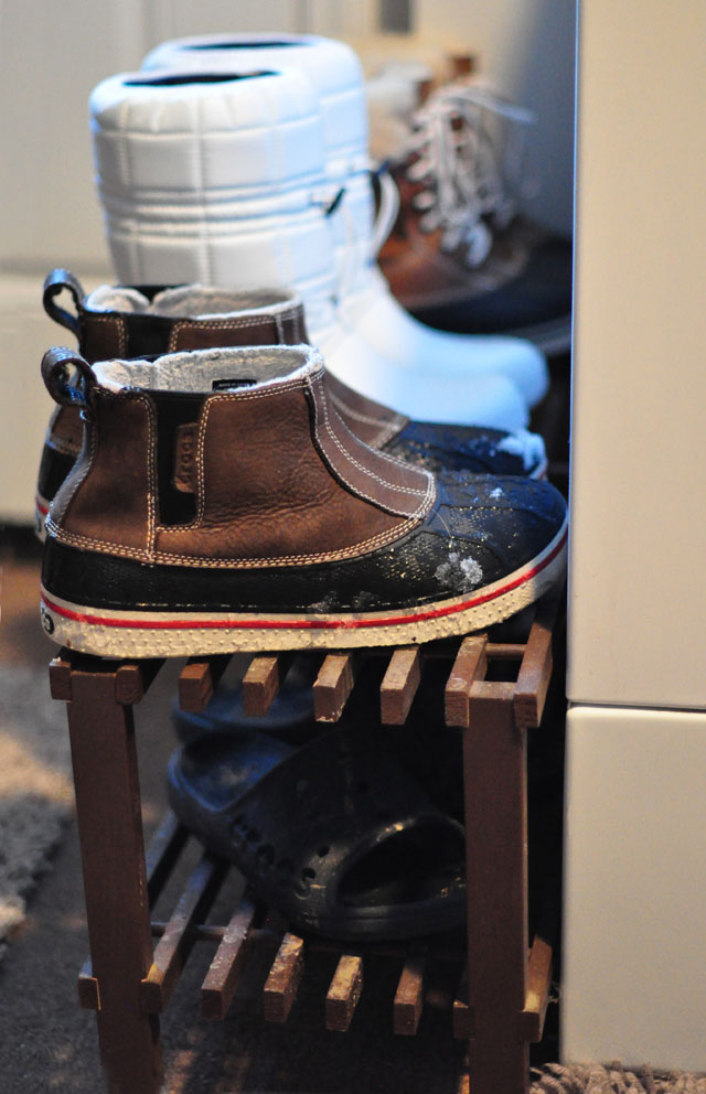 snow boots in the mud room
