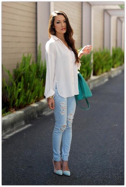 Art Symphony Blue Jeans White Shirt