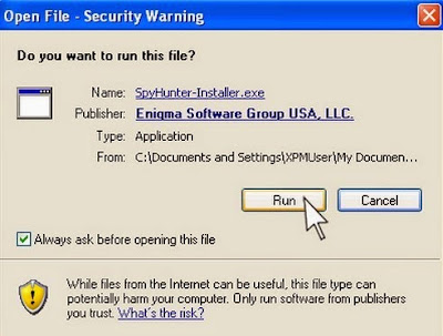 the screenshot of security warning while opening file