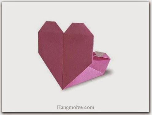Cách gấp, xếp cái túi trái tim bằng giấy origami - Video hướng dẫn xếp hình trái tim quà tặng - How to fold a Heart Pocket
