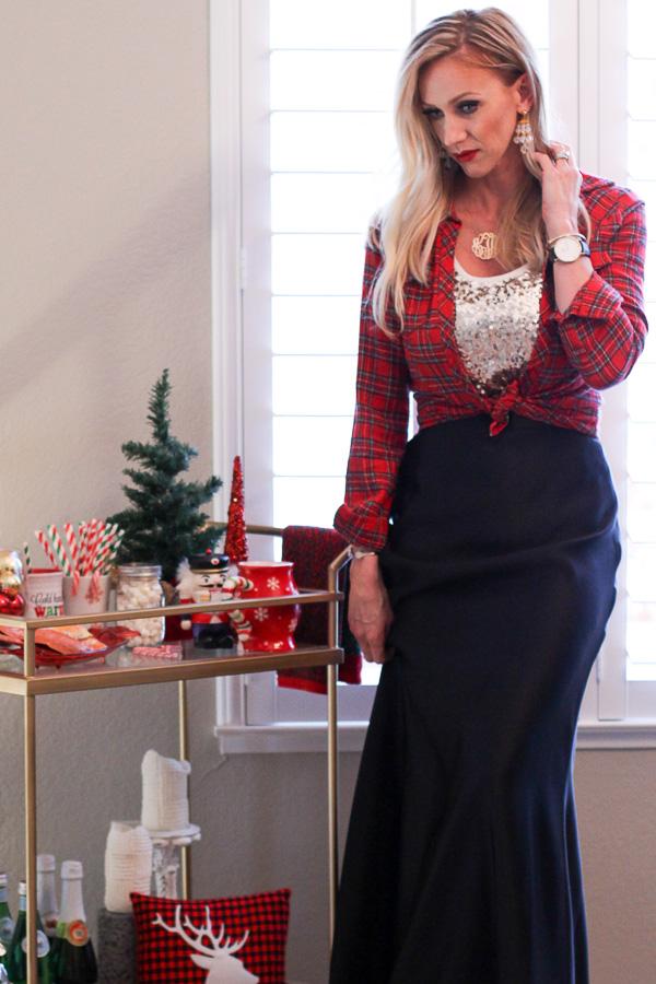 long black skirt sequin top plaid longsleeve