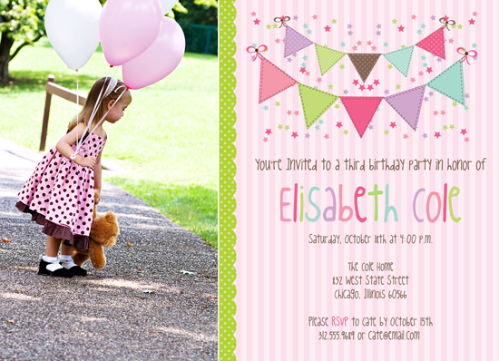 NEW! Photoshop Template Bunting Birthday Invitations