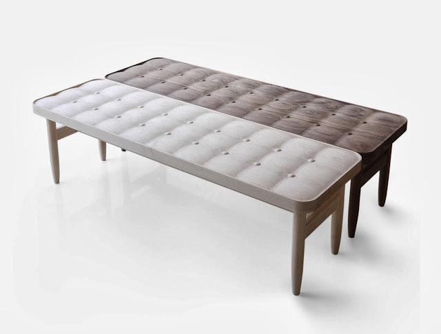 Banco de madera con efecto tapizado|Espacios en madera