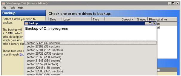 Drive Image XML Saat Melakukan Proses Backup File