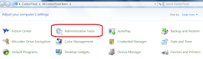 Click on administrative tools to open Windows Service