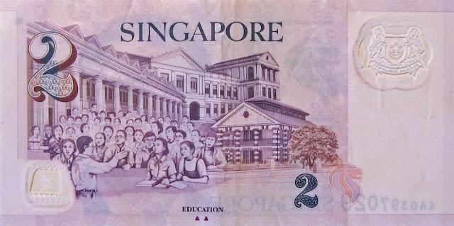 Billete de dos dólares de Singapur