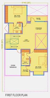 Golf Country, Yamuna Expressway :: Floor Plans,Golf Villa (200 sq. yd.):- First Floor Plan Plot Area: 1131.72 Sq. Ft.
