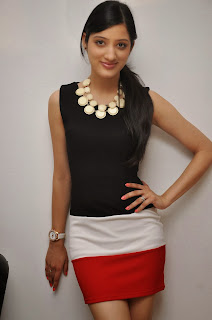 Richa Panai in Red and white Mini Mini Skirt and Black Tank Top Lovely Necklace