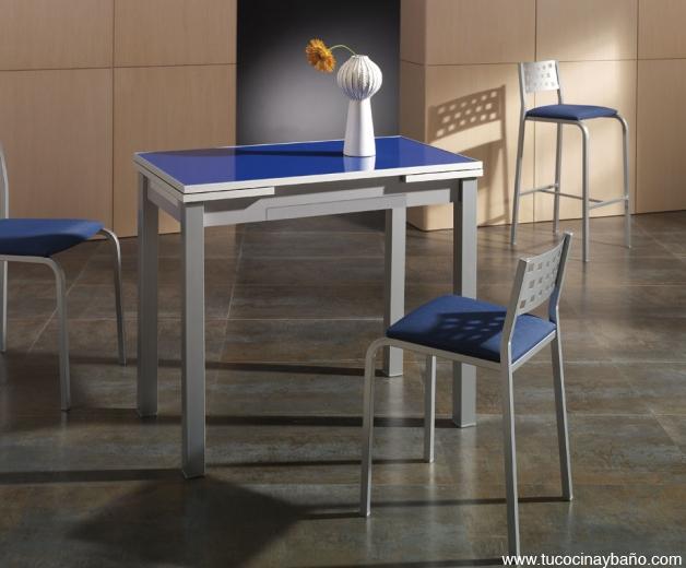 Mesa de cocina azul precio cristal