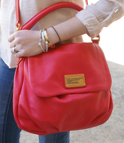 Marc by Marc Jacobs Lil Ukita Bag worn cross body rock lobster pink red