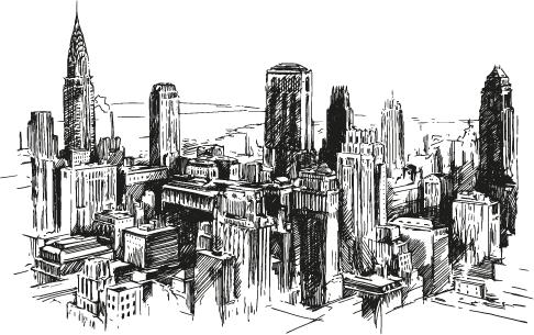 Nueva York a plumilla vectoriales