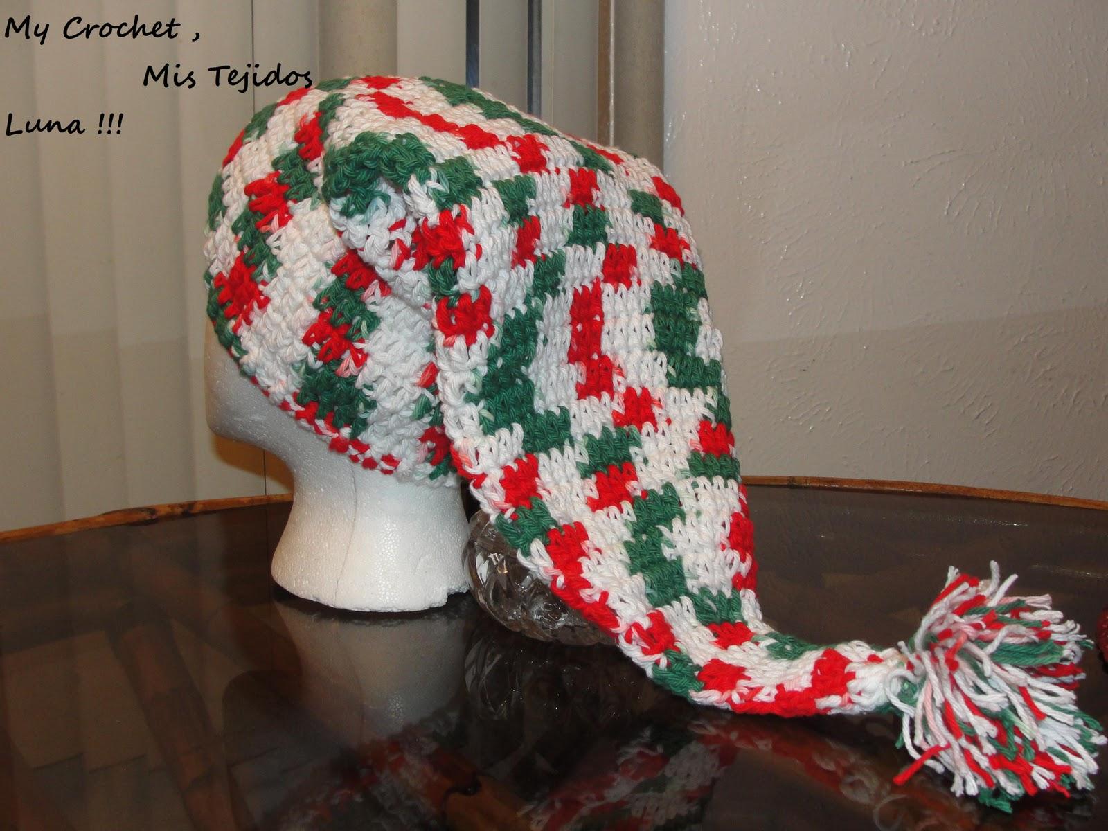 Lujoso Crochet Patrón De Sombrero De Duende De La Navidad Bosquejo ...