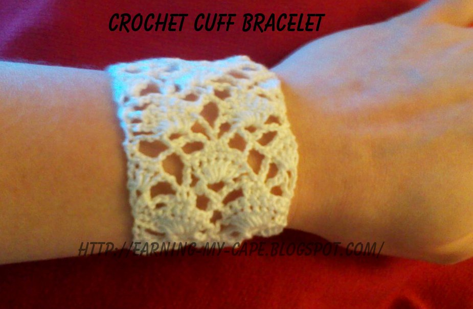 Earning My Cape Gilded Fans Crochet Cuff Bracelet
