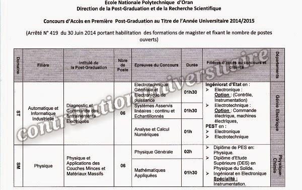 École Nationale polytechnique d'Oran: Concours d'Accès en Première Année Post-Graduation au Titre de l'Année Universitaire 2014/2015 Enp-magister2014-15