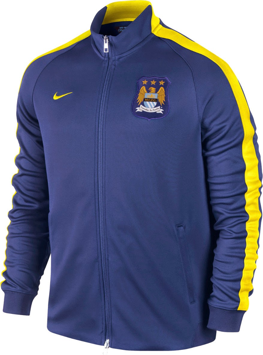 Manchester City FC Authentic N98 Mens Track Jacket Royal Blue Official 2014 - 2015