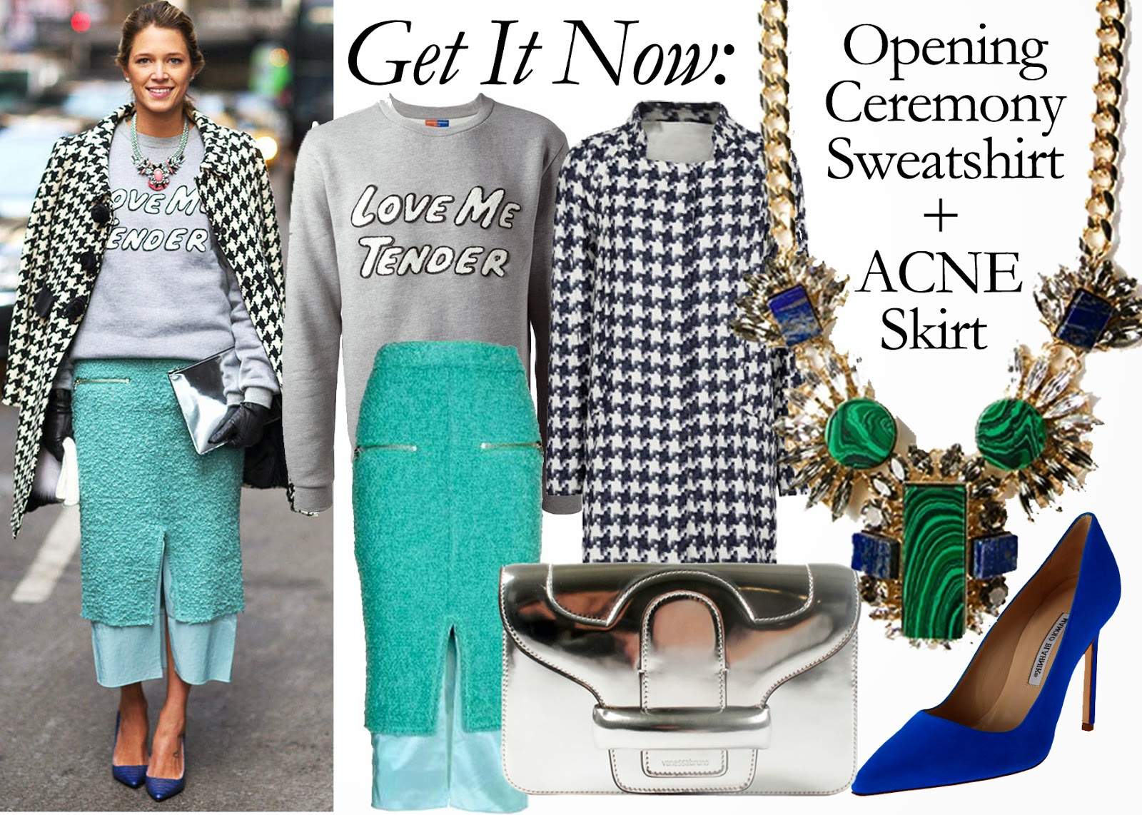 Get It Now: Opening Ceremony Love Me Tender Sweatshirt + ACNE Form Boucle skirt