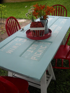 unique outdoor tables. I put them together  added paint and hard work here is how it all turned out Old Doors Rock My World A Unique Outdoor Table