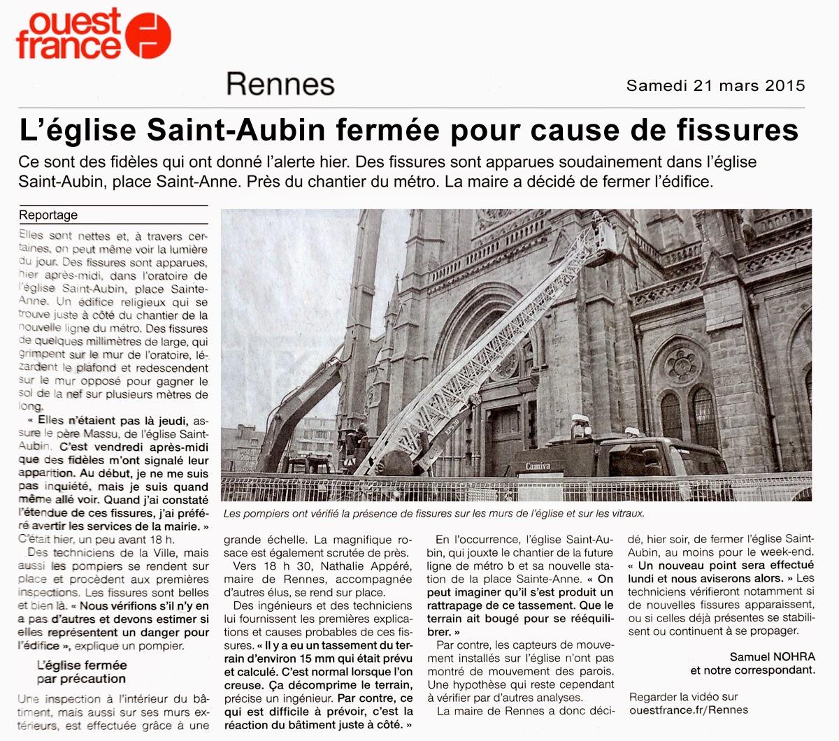L'église Saint-Aubin fermée pour cause de fissures - Ouest-France - Samedi 21 mars 2015