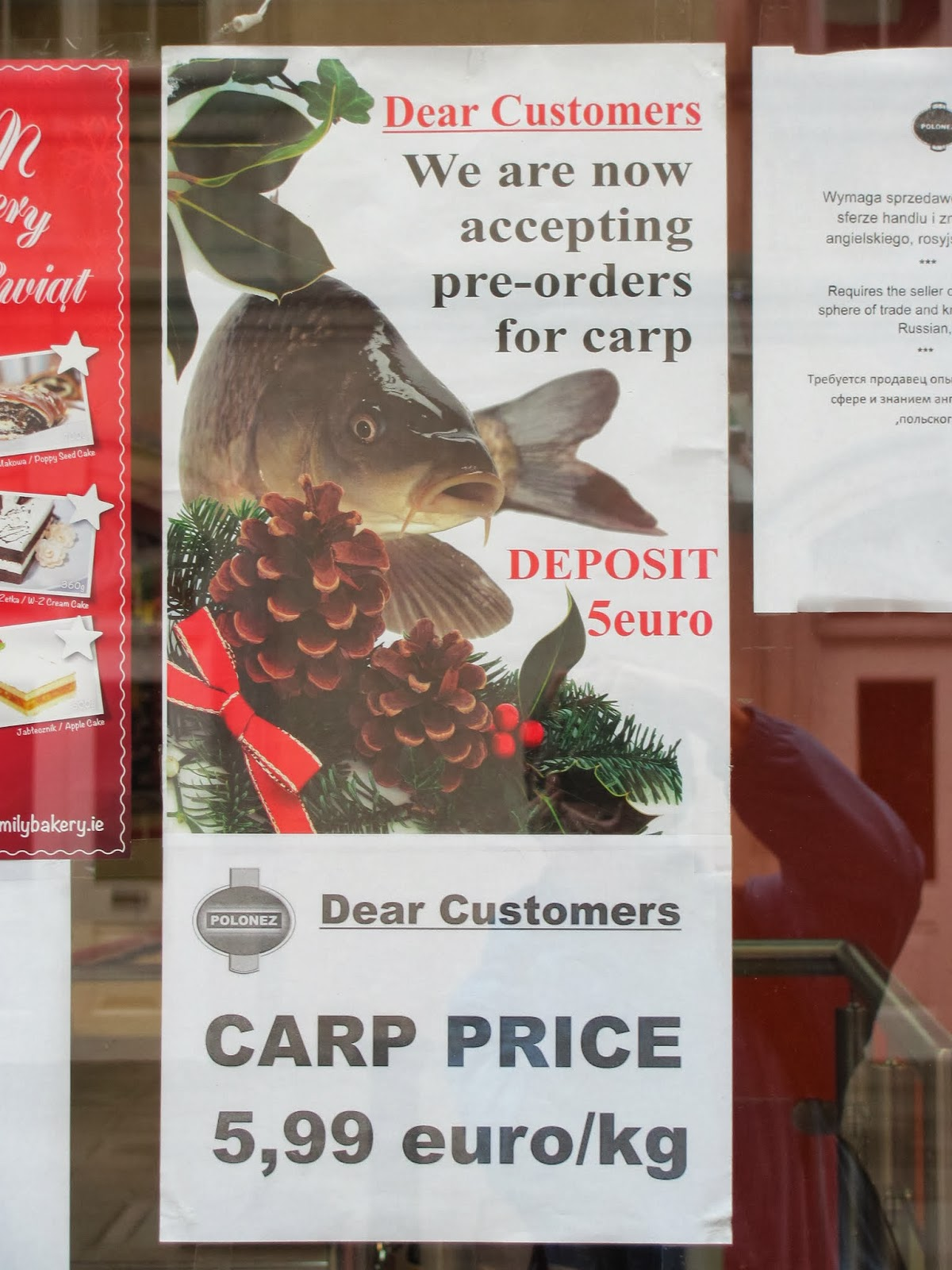 Advertisement for carp at Polish market in Dublin
