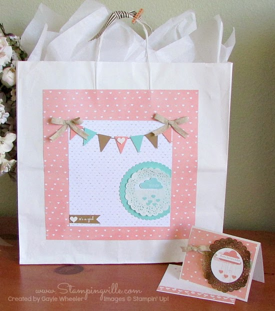 Baby Shower Keepsake Gift Bag + Baby Card | Stampingville #papercrafts #babyshower #StampinUp