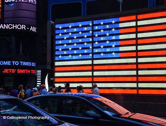 US flag illumination in Times Square