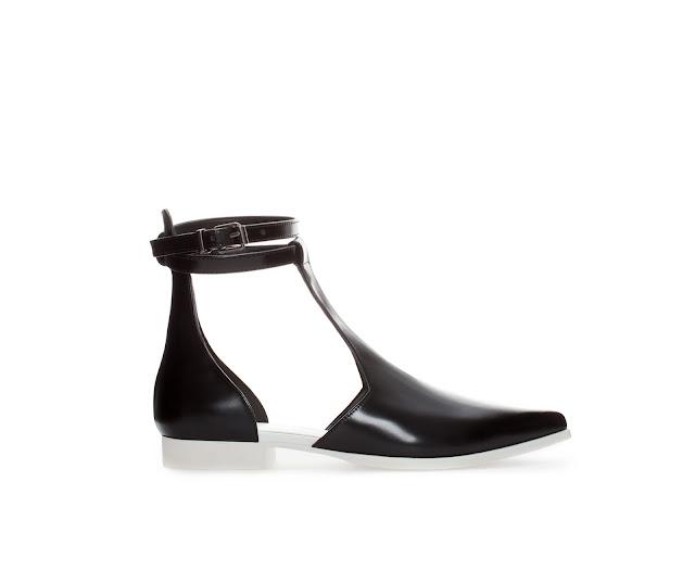 leather strap shoe, white sole,