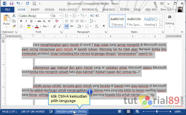 Cara menghilangkan garis merah di word
