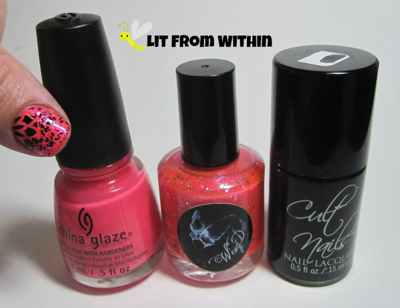 Bottle shot:  China Glaze Strike A Rose, WingDust Feel The Burn, and Cult Nails Nevermore