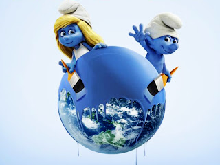 The Smurfs Smurfette Pains Globe Blue HD Wallpaper