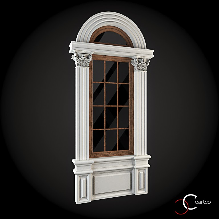 Ornamente Geamuri Exterior, Arcada fatade case cu profile decorative polistiren, profile fatada,  Model Cod: WIN-030