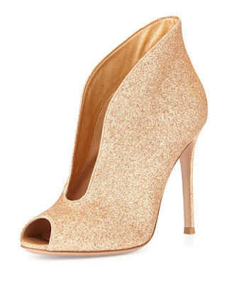 Gianvito Rossi Gold Glitter Stiletto Ankle Boots