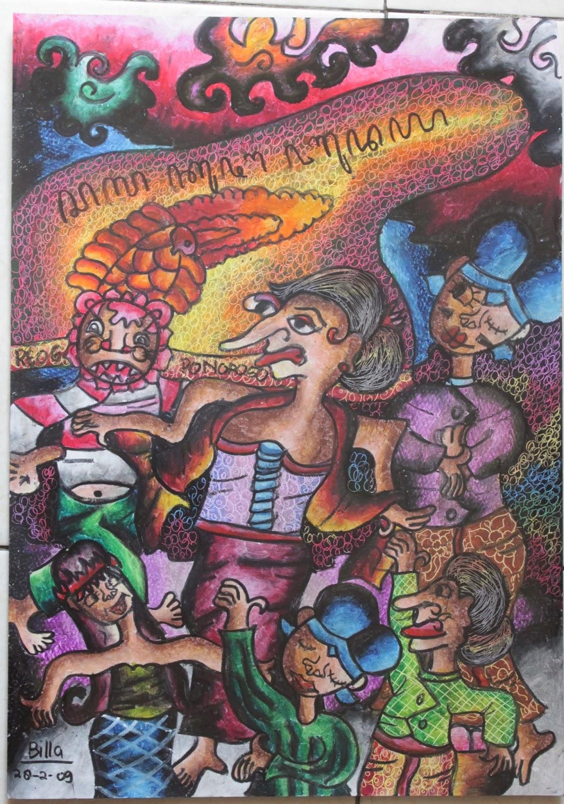 SENI BUDAYA BANGSAKU Reog Ponorogo Media Kertas & Crayon Ukuran 30cmx40cm