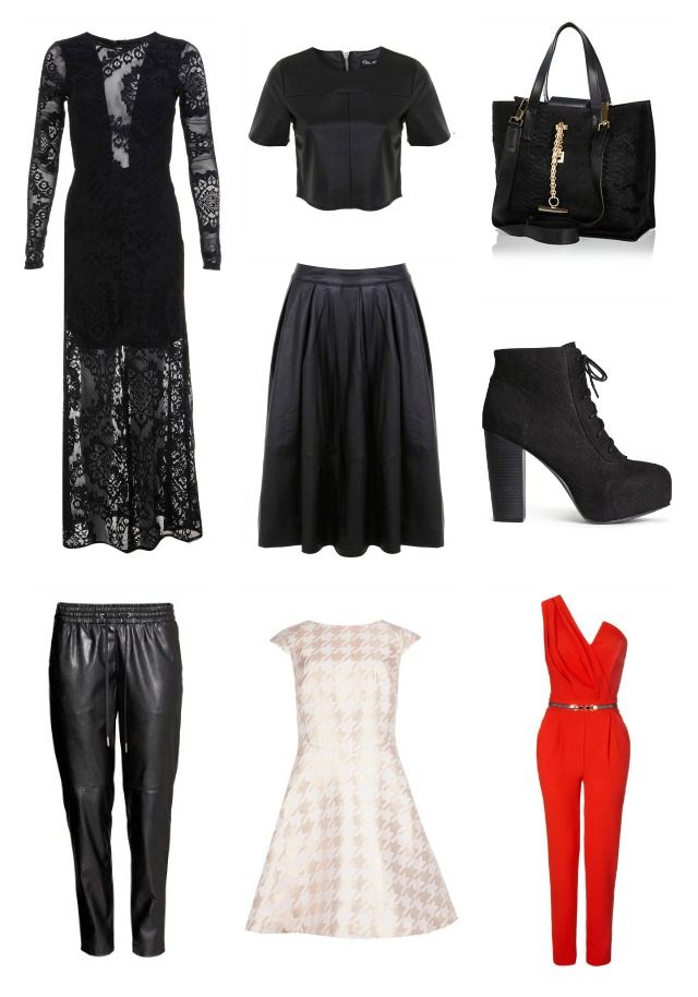 Black Lace Maxi Dress, Miss Selfridge, Leather Look Co-Ord, crop top, midi skirt, Black Mini Tote Bag, River Island, Lace Up  jeffrey campbell dupe Boots, H&M, Leather Jogger, Pink rose gold Metallic Houndstooth Dress, Ted Baker, Red asymmetric Jumpsuit,Lipsy, Michelle Keegan collection
