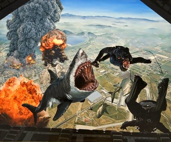 Caleb Brown pinturas surreais hiper realistas animais gigantes