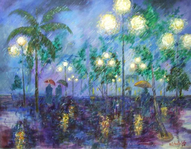 Parque y lluvia.