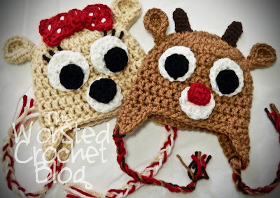 Free Crochet Pattern For Reindeer Hat : The Worsted Crochet Blog: Rudolph the Red Nosed Reindeer ...