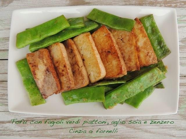 tofu con fagioli verdi e zenzero