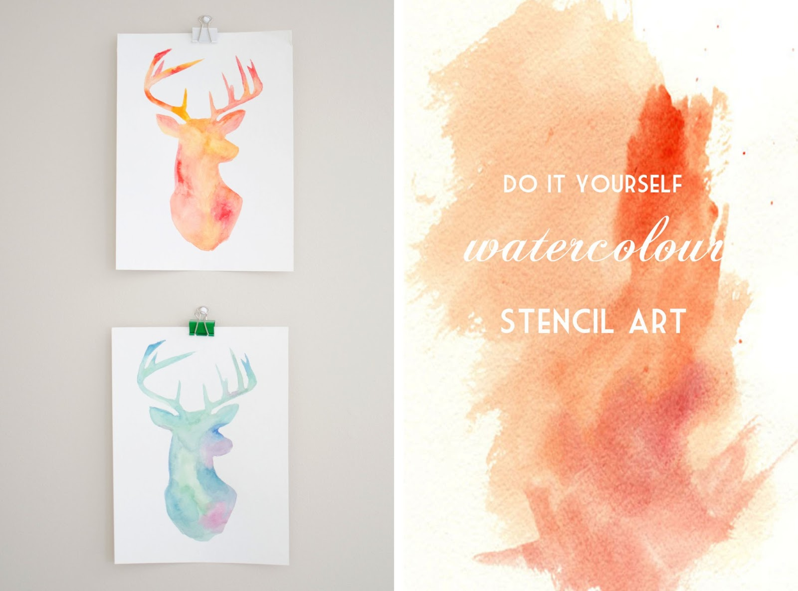 P s diy watercolour stencil art for Diy paint