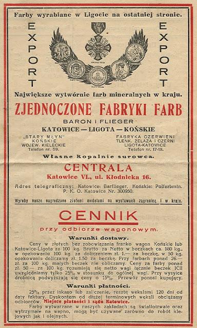 Cennik - katalog farb produkowanych w fabryce farb mineralnych Stary Młyn - pierwsze trzy strony cennika. Dokument w zbiorach KW.
