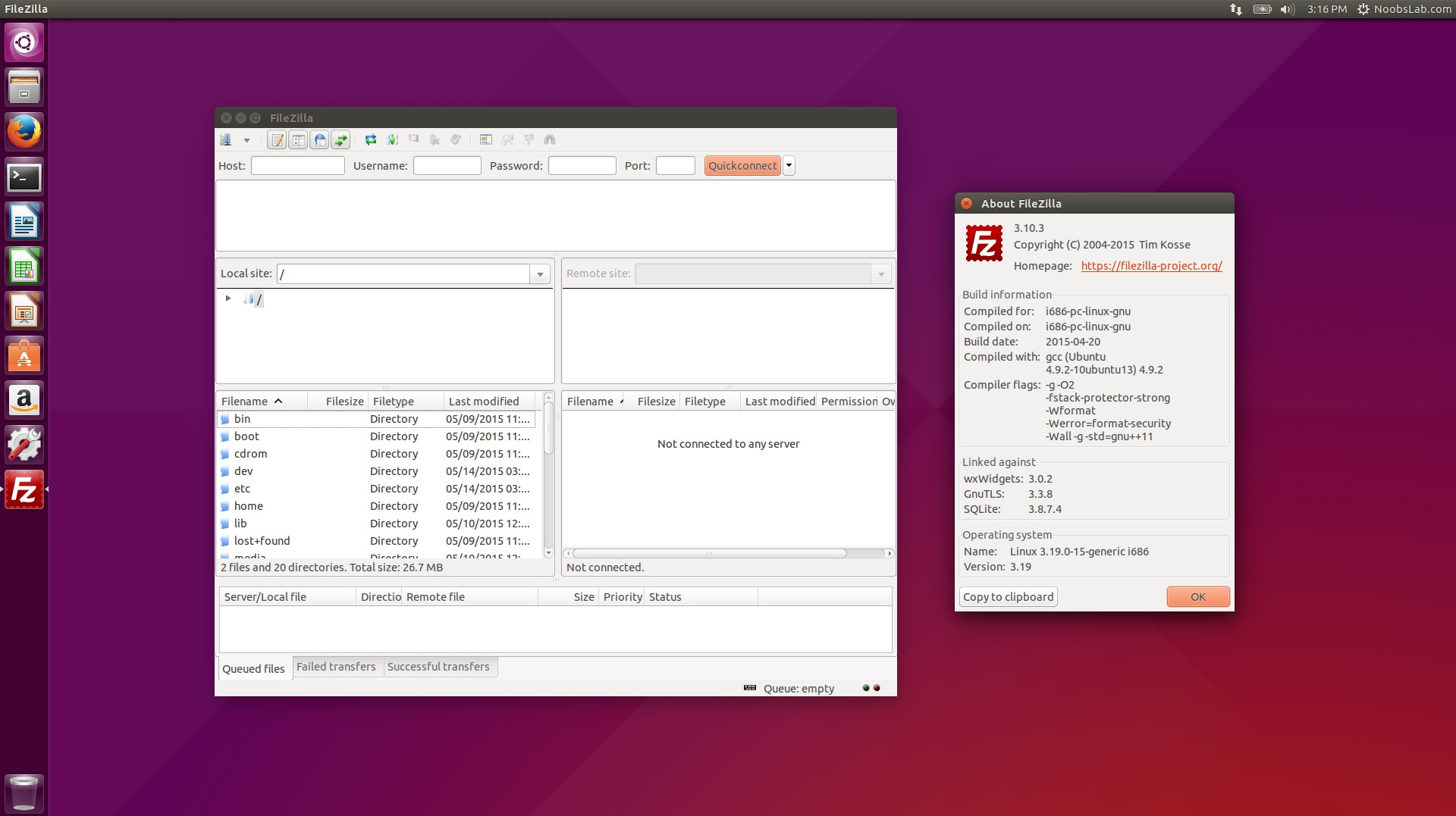 filezilla ftp client available for ubuntu linux