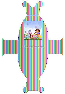 Cajita imprimible gratis con forma de vestido, de Dora la Exploradora.