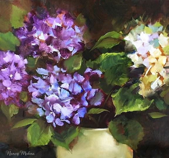 nancy medina art  castaway blue and white hydrangeas by texas flower artist nancy medina