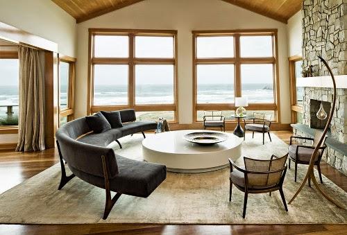 oregon coast house living room with half circle sofa